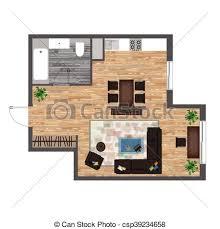 clipart vector of architectural color floor plan studio apartment