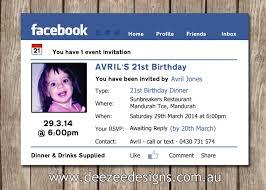 21st Birthday Invitation Card Facebook Themed Personalised Birthday Invitation With Photo