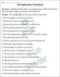 figurative language personification worksheet worksheets