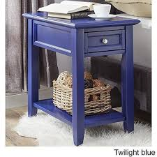modern navy blue wooden accent end table night stand with hidden