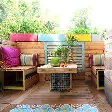 impressive terrace living room in colorful theme inspiring