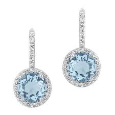 topaz earrings blue topaz and white topaz halo earrings item 19321033 reeds
