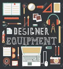 vector set of equipment for design designer gadgets for creativity