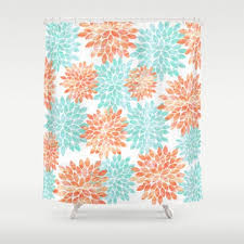Navy And Coral Shower Curtain Shop Coral And Aqua Shower Curtain On Wanelo Navy And Coral Shower