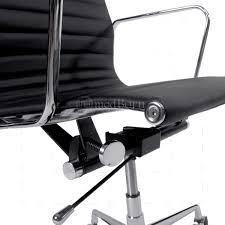 black leather desk chair eames style office chair high back ribbed black leather replica