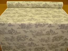 designer grey toile de jouy 100 cotton curtain upholstery fabric