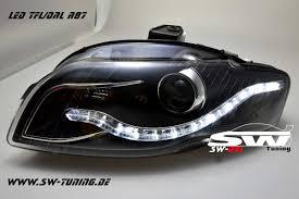 audi headlights sw drl headlights audi a4 b7 8h cabrio 04 08 led drl r87 black
