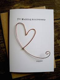 7 year wedding anniversary gift 7th wedding anniversary designer keepsake card copper wire heart 7