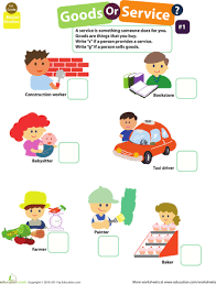 examples of goods and services goods and services worksheets