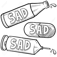 doodle style bottle syringe and pharmaceutical sketch with sad
