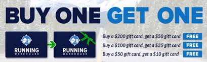 buy a gift card running warehouse gift cards buy one get big bonus card for free