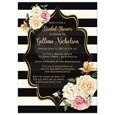 wedding shower invitation bridal shower invitation black ivory stripes vintage floral