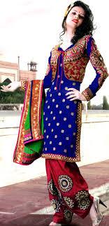 design of jacket suit dazzling blue designer salwar suit with metallic thread embroidery