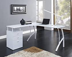 modern glass desk with drawers modern corner computer desk l shaped with glass top completed