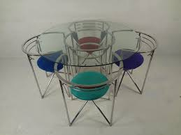 glass chrome dining table 70s retro glass and chrome dining table and chairs at 1stdibs