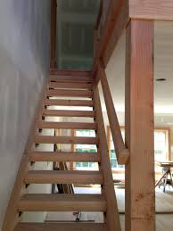 stair basement stair design with maple wood treads and handrail