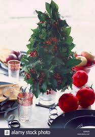 up of table decoration of small tree made from