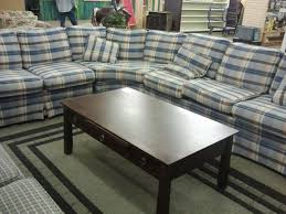 plaid sectional with awesome coffee table restore pinterest