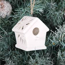 white bisque bird house christmas tree decoration by red berry