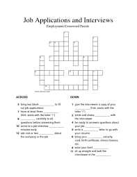 job applications and interviews employment crossword puzzle 3rd
