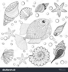 hand drawn zentangle fish sea shells stock vector 416459275