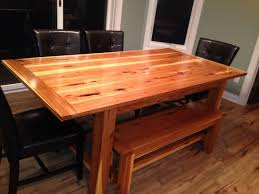 dining room sets with benches custom made hickory farm table with matching bench by black swamp