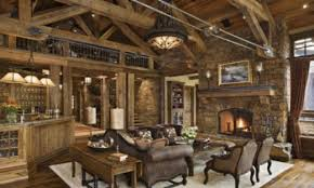 cabin style with rustic cabin living room feat stone walls and