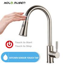 kitchen faucets stainless steel pull out new 2 in 1 touch kitchen faucet lead free sus304 stainless steel