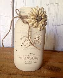 How To Use Mason Jars For Decorating Hand Painted Medium 800 Ml Ball Mason Jar Painted With Antique