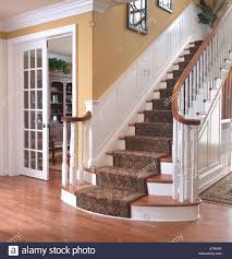 Stairs With Landing by Staircase Stairs Steps Landing Living Room Usa Stock Photo