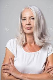 looking with grey hair attractive youthful fifty year old woman with shoulder length