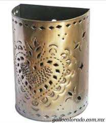 Tin Wall Sconce Mexican Lighting Punched Tin Wall Sconce Glass Lights