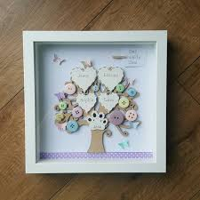 handmade box framed family tree with butterflies wedding mothers