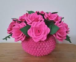 Origami 3d Flower Vase Paper Rose Centerpiece Flower Arrangement 3d Origami Vase From