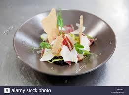 haute cuisine dishes haute cuisine recipe made of iberian pork products stock photo
