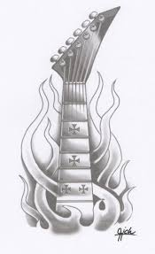 death skull with guitar tattoo design in 2017 real photo