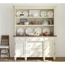 Solid Wood Buffet And Hutch Pottery Barn Keaton Buffet U0026 Hutch French White Polyvore