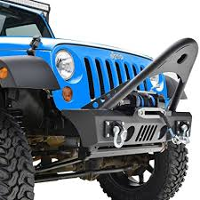 jeep wrangler jk black textured front bumper with stinger and winch