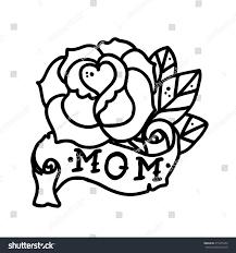 tattoo rose flower ribbon word mom stock vector 415475233