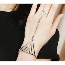 bracelet hand images 3102 fashion women triangle hand bracelet finger bangle silver jpg