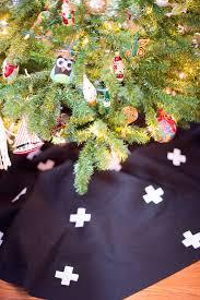 diy modern swiss cross christmas tree skirt with no sew option