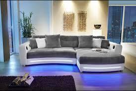 sofa mit led beleuchtung multimedia ecksofa in kunstleder und mikrofaser greige inkl