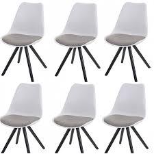lot de 6 chaises salle à manger lot de 6 chaises de salle à manger rétro blanc tissu gris pieds bois