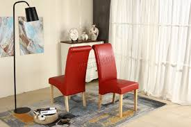 Red Faux Leather Dining Chairs Premium Dining Chairs Faux Leather Roll Top Scroll High Back Wood