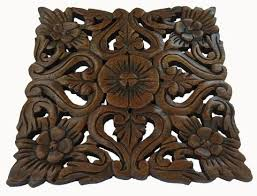 carved wood plaque square wall hangings wall decor asiana