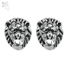 studs for mens hip hop style earrings lion brincos surgical steel ear studs