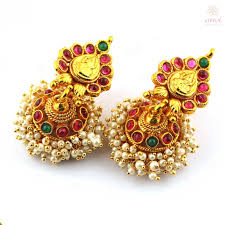 kempu earrings anvi s traditional lakshmi temple jewellery necklace and