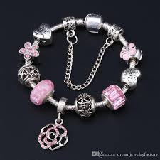 pandora glass bracelet images Silver plated fit pandora bracelets murano glass beads pink floral jpg