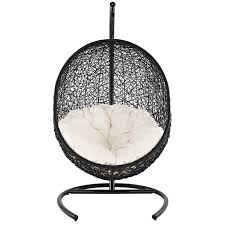 furniture black rattan swingasan chair with pink stripped cushion