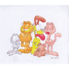 garfield and friends original drawing of garfield and friends by jim davis